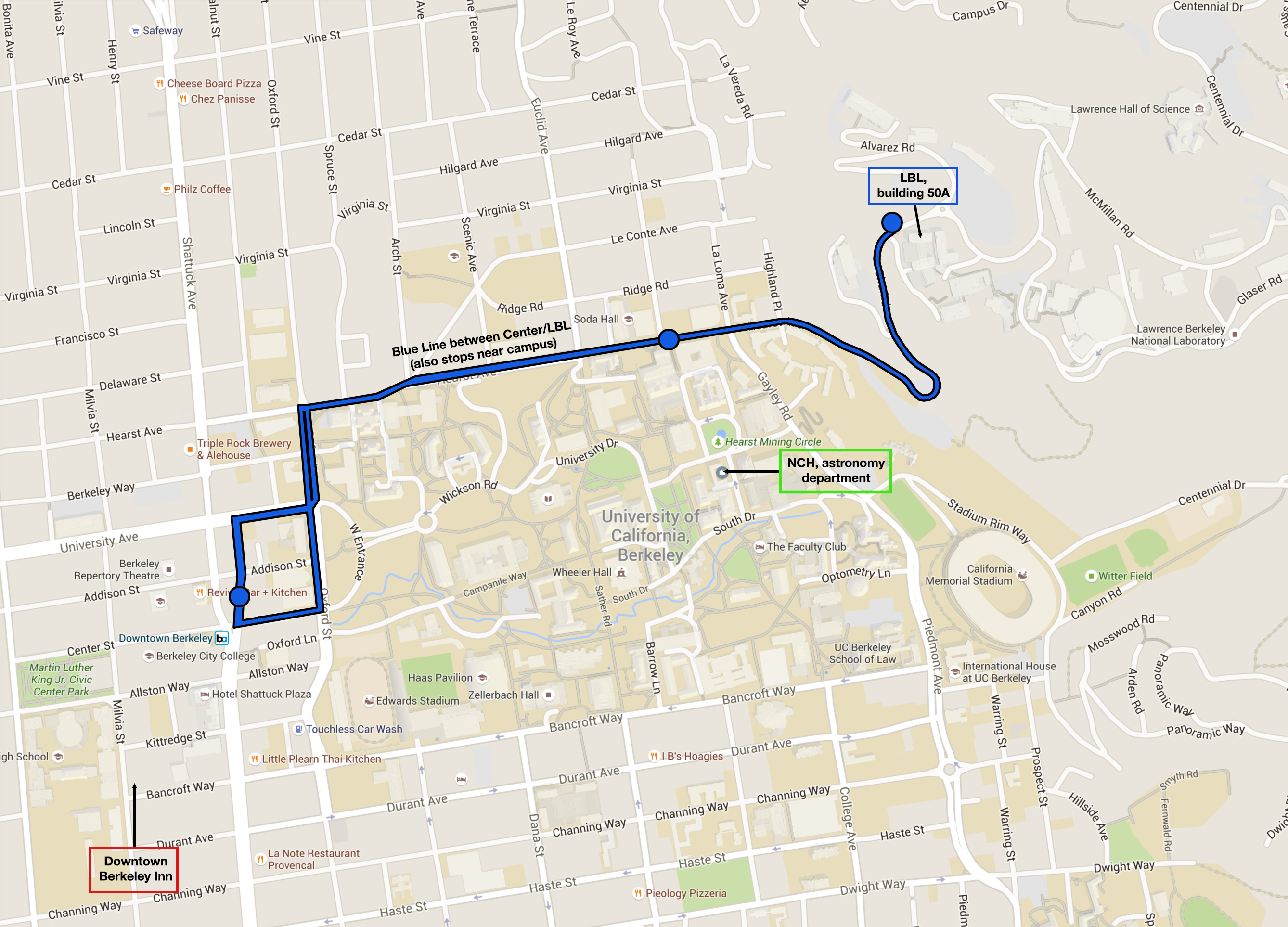map showing bus route to lbl and campbell hall